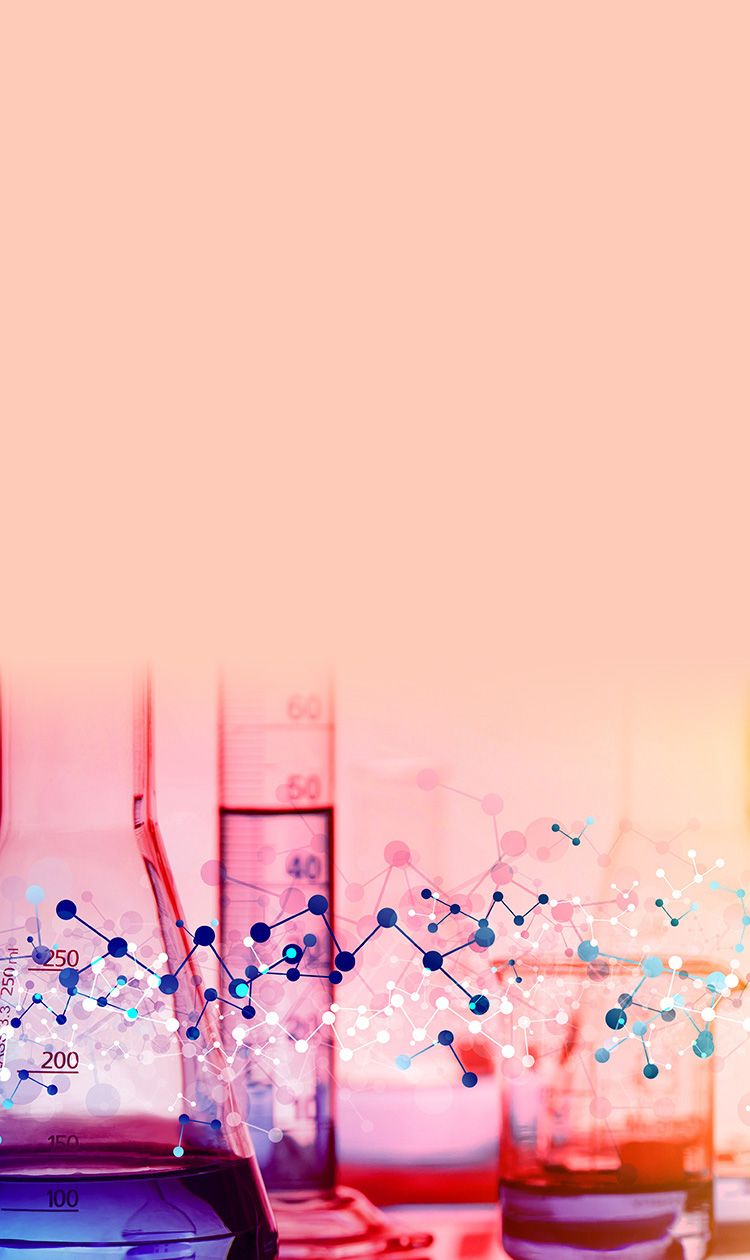 Colorful background, beakers test tube on a table with diagram of molecules in front