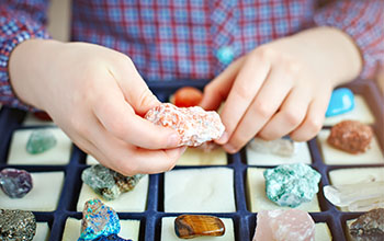 Boy holding a mineral in his hand while looking at the many of them in a case